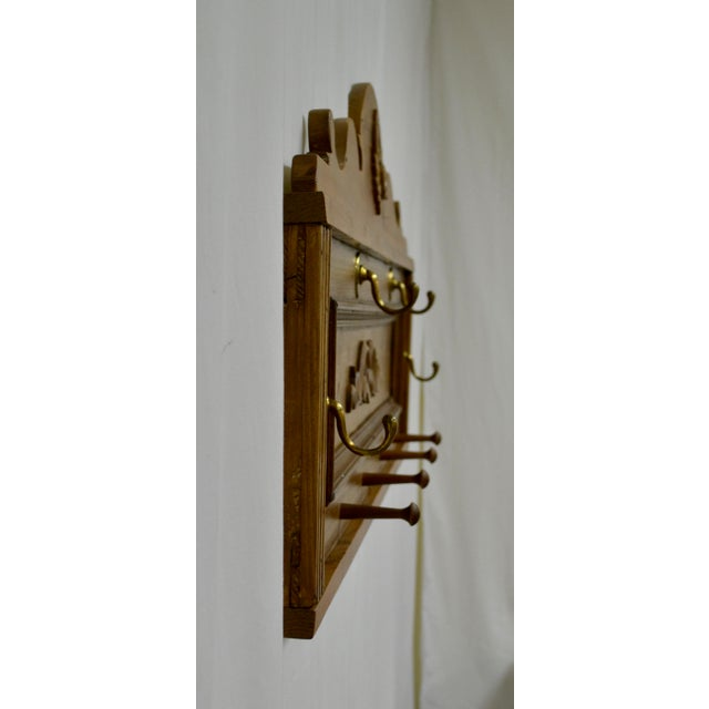Traditional Pine Wall-Mounted Hat and Coat Rack For Sale - Image 3 of 10