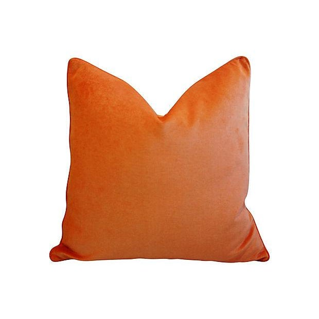 """Abstract Custom Tailored Tangerine Orange Velvet Feather/Down Pillows 24"""" Square For Sale - Image 3 of 4"""