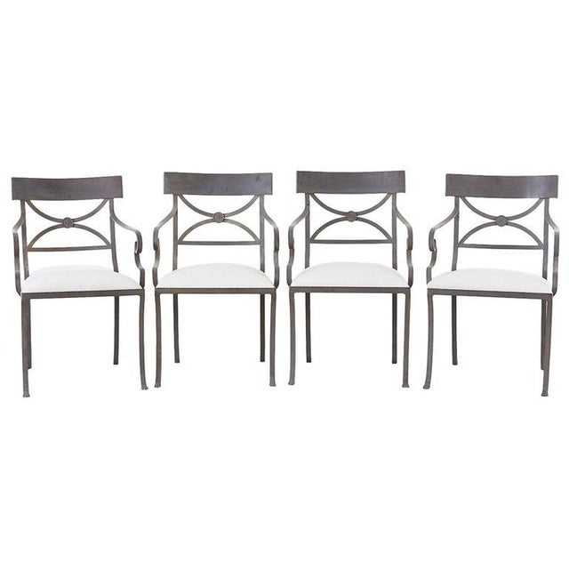 Set of Four Regency Style Iron Garden Patio Chairs For Sale - Image 13 of 13