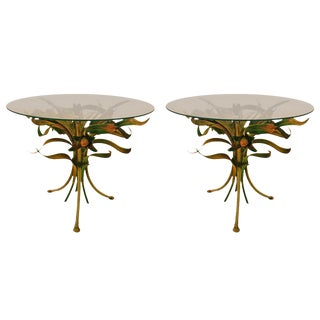 1950s Italian Metal and Glass Foliate Tables-a Pair For Sale