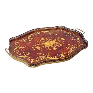 Inlaid Italian Serving Tray For Sale