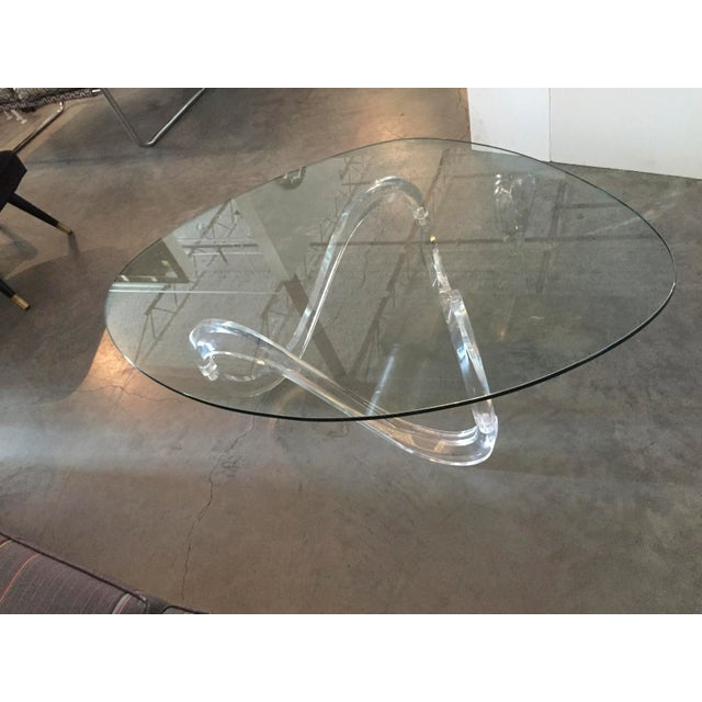 Modernist Sculptural Lucite Base and Glass-Top Coffee Table - Image 5 of 6
