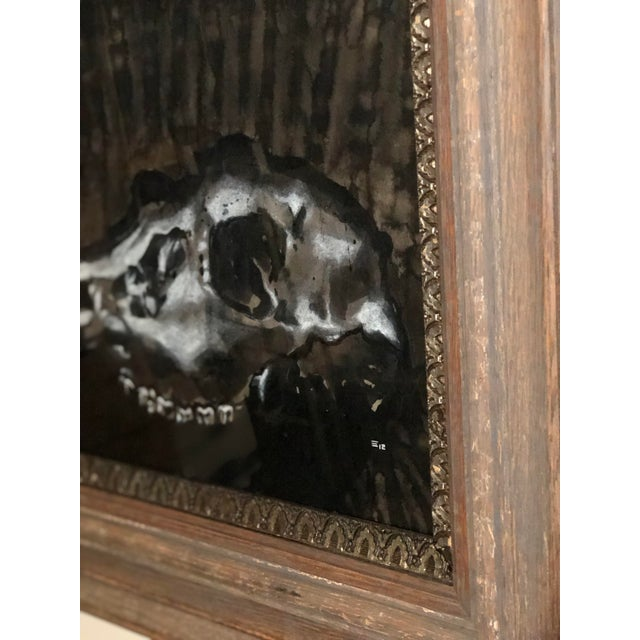 Black and White Watercolor of an Animal Skull For Sale - Image 4 of 11