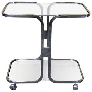 Milo Baughman Chrome Two-Tier Bar Cart For Sale