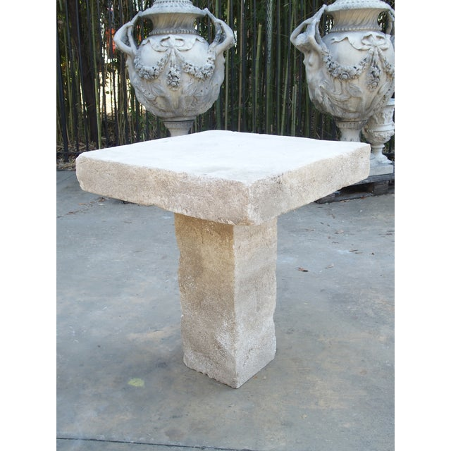 Carved Square Top French Limestone Bistro Table For Sale - Image 11 of 12