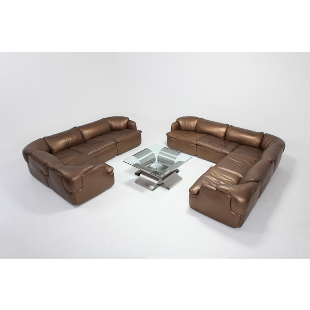 1970s Bronze Leather Saporiti High-End Sectional Sofa 'Confidential' For Sale - Image 5 of 12