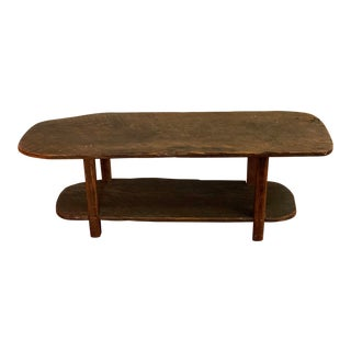 1970s Rustic Reclaimed Wormy Chestnut Coffee Table For Sale