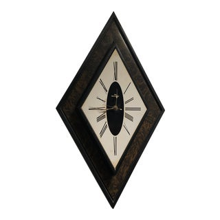 Mid Century Modern Diamond Shaped Waltham Wall Clock For Sale
