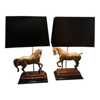 Mid Century Equestrian Horse Table Lamps by Frederick Cooper - A Pair For Sale
