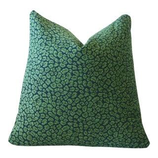 Malachite leopard Chenille Pillow Cover 18x18 For Sale