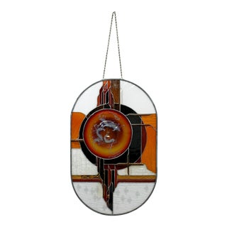 Contemporary Modern Toland Sands Stained Glass Wall Art Hanging Sculpture 1980s For Sale
