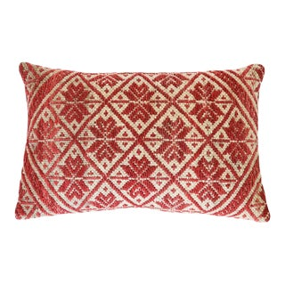 "Red Peruvian Pillow 22"" X 15"" For Sale"