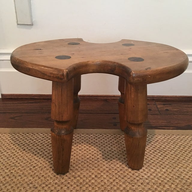 Rustic Americana Wooden Stool For Sale - Image 9 of 11