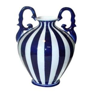 Large Cobalt Blue & White Striped Vase