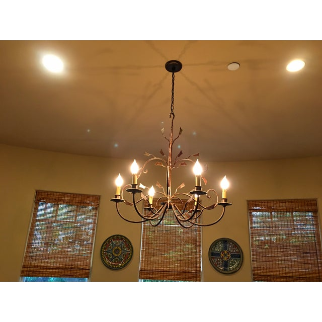 6-Light Bronze Iron Foliage Chandelier - Image 3 of 4