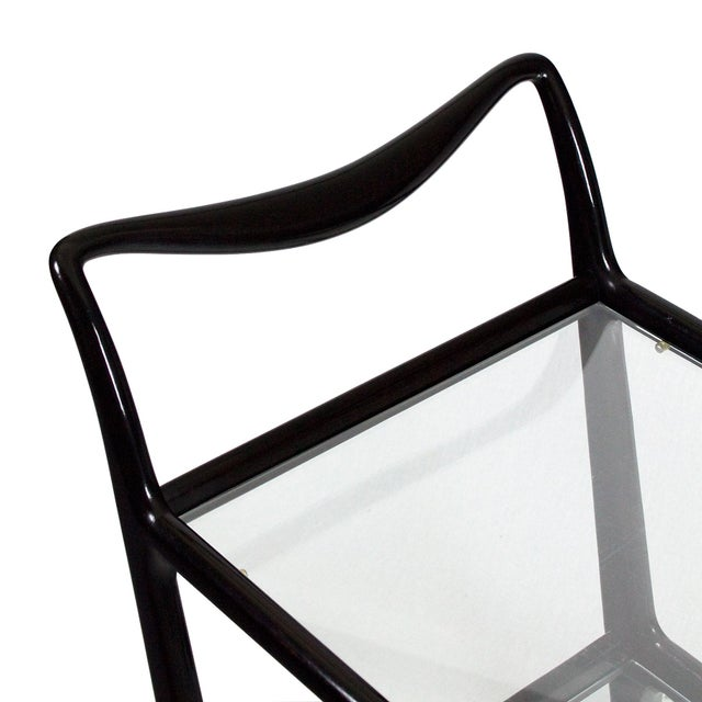 1950´s Two Levels Bar Cart by Ico Parisi, Stained Beech, Glass - Italy For Sale - Image 11 of 12