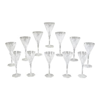 Set of 12 Signed Baccarat Elbeuf Crystal Tall Water Goblets For Sale
