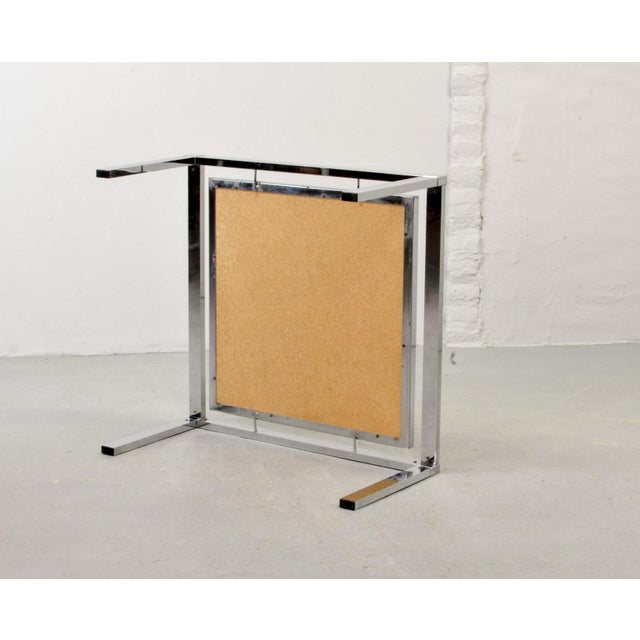 Mid-Century Abstract Design Ceramic Side Table With Chrome Frame, 1970s For Sale - Image 10 of 11