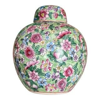 Floral Ceramic Ginger Jar For Sale