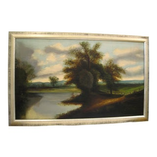 Early 20th Century Antique River Landscape Oil Painting For Sale