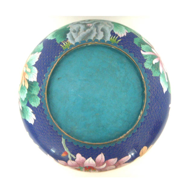Large Blue Cloisonné 'Flower Bowl' and Stand - Image 9 of 11