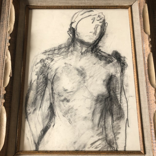 Original charcoal drawing on paper unsigned sketch 12 x 16 overall size with vintage carved wood frame with aged linen...