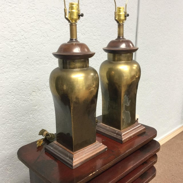Metal 20th Century Hollywood Regency Ethan Allen Brass Table Lamps - a Pair For Sale - Image 7 of 9