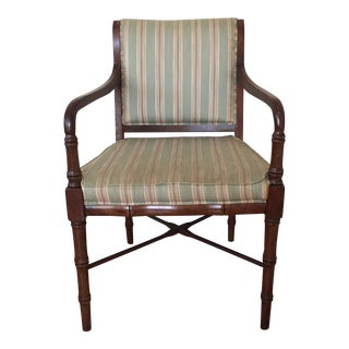 Vintage Mid Century Faux Bamboo Mahogany Armchair For Sale