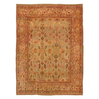 Late 19th Century Antique Turkish Oushak Rug - 10′5″ × 14′3″ For Sale