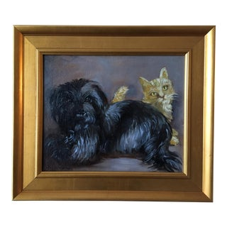 """Frenemies"" Cairn Dog and Ginger Cat Painting For Sale"