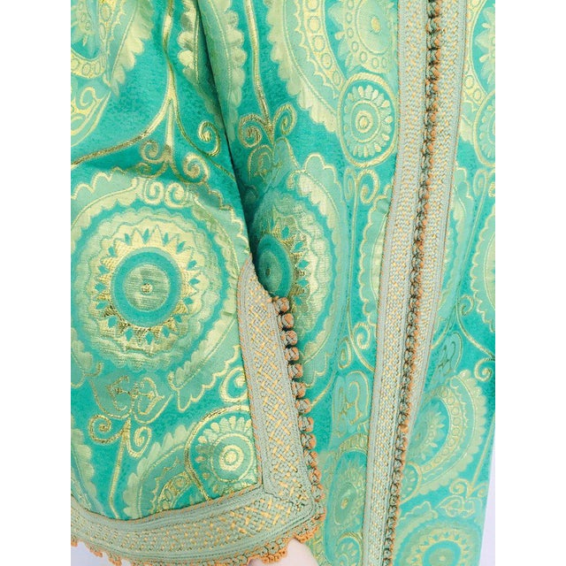 Gothic Elegant Moroccan Caftan Lime Green and Gold Metallic Floral Brocade For Sale - Image 3 of 13