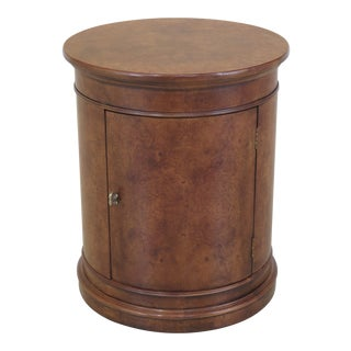 Henredon Round Burl Walnut or Elm Occasional Table For Sale