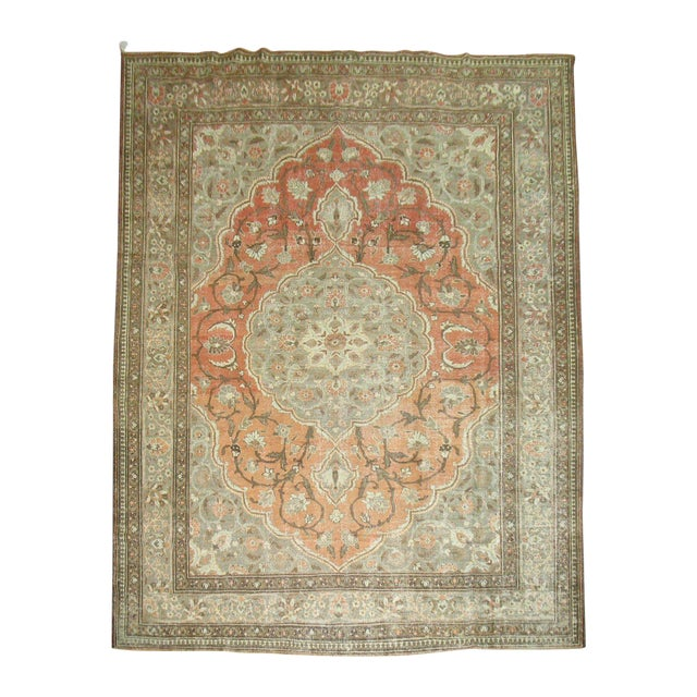 Shabby Chic Persian Tabriz Rug - 9′6″ × 12′8″ For Sale