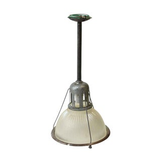 "12"" Industrial Holophane Factory Pendant Light For Sale"
