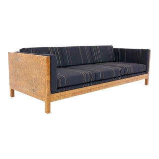 Milo Baughman Burl Wood Case Sofa Reupholstered in Paul Smith Fabric for Maharam For Sale