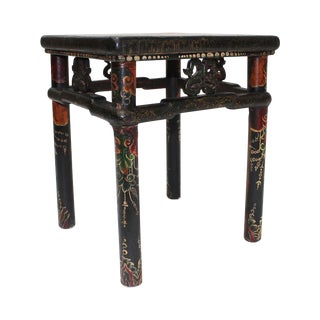 Vintage Hand-Painted Tibetan Side Table For Sale