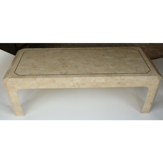 Maitland-Smith Style Tessellated Coral Stone Coffee Table For Sale - Image 4 of 9