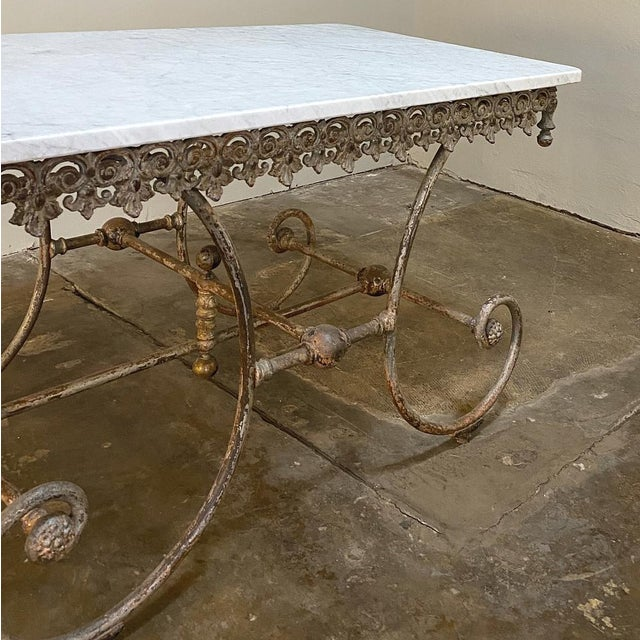 19th Century Iron Marble Top Confectioner's Table For Sale - Image 11 of 13