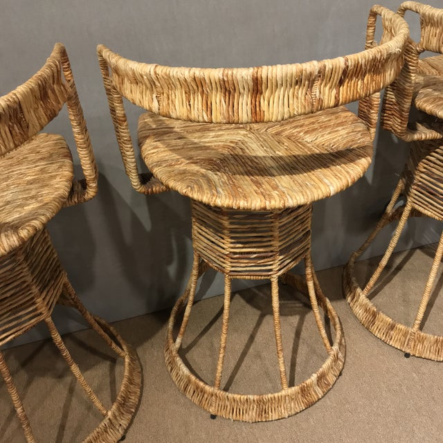 Nautical Cane Woven Bar Stools - Set of 3 For Sale - Image 4 of 11