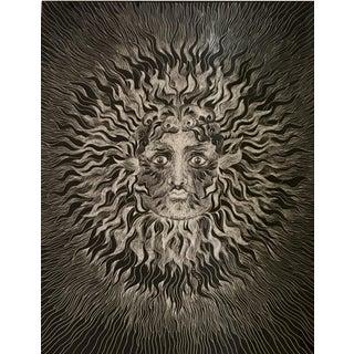 Unusual Sascha Brastoff Modernist Silver Foil Sunburst Print For Sale