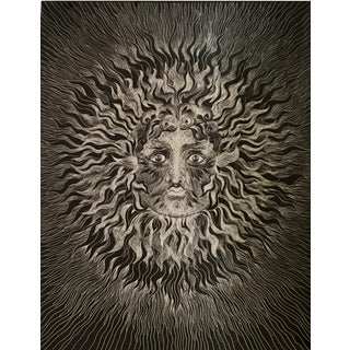 Unusual Sascha Brastoff Modernist Silver Foil Sunburst Print