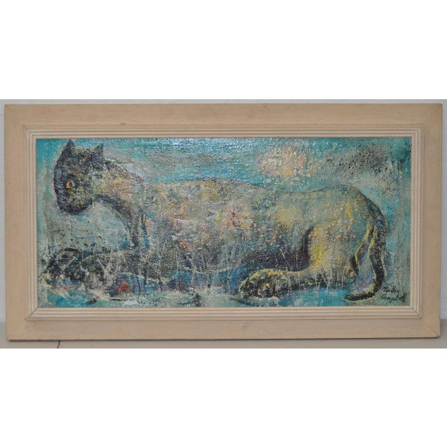 "Charles Campbell (American) ""Reclining Cat"" Original Oil Painting C.1950s For Sale - Image 9 of 9"