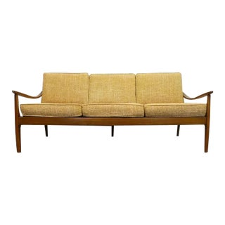Mid Century Danish Modern Beechwood Cream and Brown Tweed Sofa