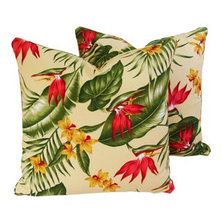 "Summer Lush Tropical Floral Feather/Down Pillows 20"" Square - Pair"