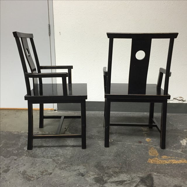 Black Solid Wood Lacquered Chairs - A Pair - Image 6 of 10