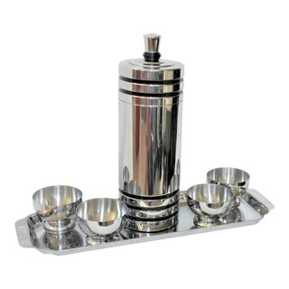 1930's Art Deco Chase Chrome Gaiety Skyscraper Cocktail Shaker Set - 8 Pieces