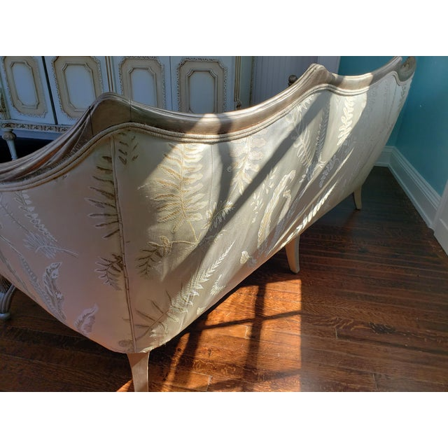Vintage Mid Century Off-White French Style Settee Sofa For Sale - Image 4 of 8
