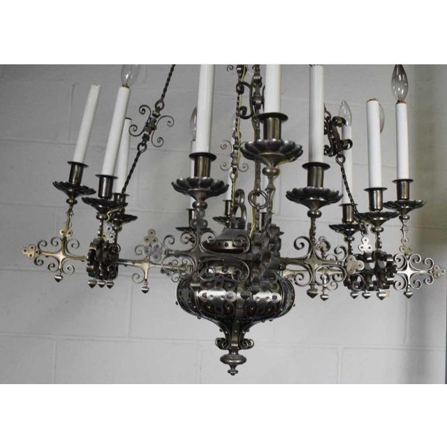 Renaissance Revival Wrought Iron Chandelier First Half Of The 20th Century Wrought Iron Pierced Body With Straight...