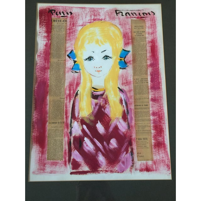 1960s Vintage Francois Paris Girl and Boy Portraits Mixed Media Paintings - A Pair For Sale - Image 11 of 13