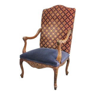 Fairfield Louis XV Style Carved Walnut Arm Chair For Sale